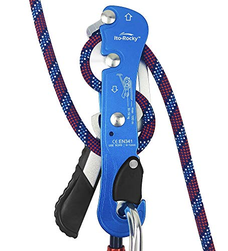 Ito Rocky Climbing Stop Descender Rappelling Anti-Panic Belay Devices for 9-12mm Rope Rescue Equipment Hand Controls Desingned