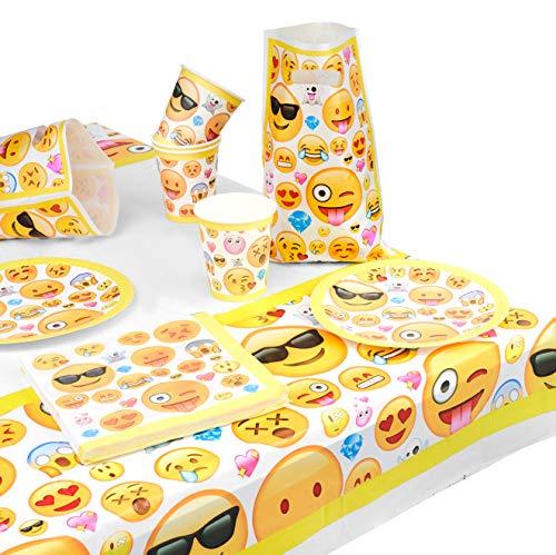 matana - 76-teiliges Emoji Partygeschirr - 15 Gäste