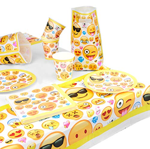 Matana 76 Piezas Juego de Vajilla de Fiesta de Cumpleaños Emoji para Niños