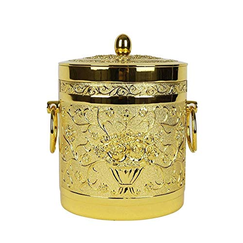 Ice Bucket for Home/Bar Large Vintage Champagne Bucket Cooler Traditional Ice Ice Bucket,KTV European-style Luxury Metal Ice Bucket Double Insulation Ice Bucket With Lid Bar High-end Table Champag