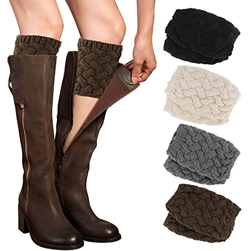 PHOGARY 4 Pares Calentadores Piernas Mujer Calcetines de Punto para Invierno, Pata arranque de los puños Calientapiernas Cortas Ganchillo Cubierta para Botas y Botines (Estilo D)