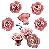 DLD Knobs, 8Pcs Elegant Pink Rose Pulls Flower Ceramic Cabinet Knobs Cupboard Drawer Pull Handles + Scre …