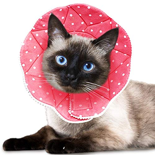 """Meric Recover Collar for Cats and Small Dogs, Viral Cute and Practical, Better Recovery, Best Solution for Short Or Long Usage, Pink with White Polka-Dots, Ideal for Pets with 7.5-9"""" Neck, 1 pc"""