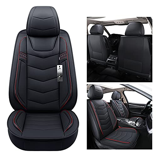 BLUEWALDON 2 Front Driver Seat Covers Universal Fit Most Truck SUV Fit for Honda CRV Accord Infiniti Q45 Q50 Q70 Jeep Liberty Compass Wrangler(2 PCS,Black and Red Line)