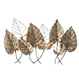 Multi-Leaf Botanical Wall Art Sculpture, Antique Gold Finish, Powder Coated Iron, Metal Cut Outs and Open Patches, Loop Hanger on Back, 45.25 W x 28.75 H Inches, 4.25 lbs, Horizontal Orientation
