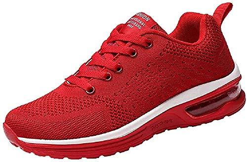 Logobeing Zapatillas de Deporte con Cojines de Aire Calzado de Running Net para Estudiante Volar Zapatos Tejidos Zapatillas Deportivas de Mujer Gimnasia Sneakers 35-41 (38, Rojo-5066)