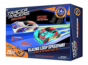 Tracer Racers Second Generation 2.4 GHz R/C High Speed Radio Control Blazin  Loop Speedway Glow Track Set with Two Cars