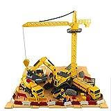 Vehículos de construcción de ingeniería y sitio de construcción con contenedor, 6 vehículos - grúa torre, camión de cemento excavadora rodillo de carretera, camión de volteo y proveedor de combustible