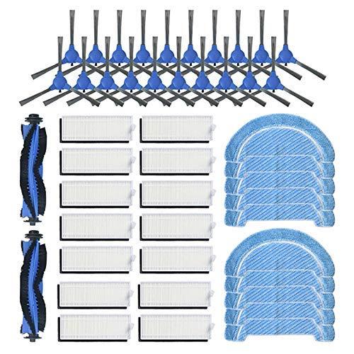 QIBIN Recambios de aspiradora cepillos laterales cepillo de rodillo filtros HEPA trapos de limpieza para Conga Robot 1090 reemplazo de barrido de aspiradora piezas