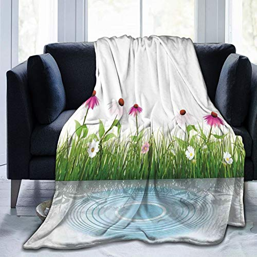 Manta mullida, Coneflower By The Lake Water Sea Fall Dibujado a mano, impresión horizontal, ultra suave, manta para bebé, cama, cama, TV, 152 x 127 cm