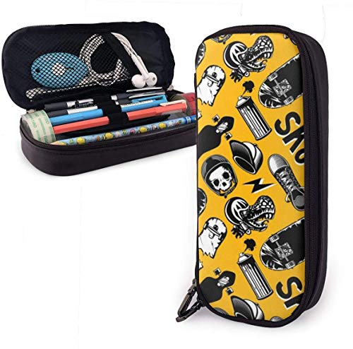 Estuche Lápices Skateboards Skate Cute Pen Pencil Case Leather 8 X 3.5 X 1.5 Inch Pouch Bag Pencil Case with Double Zipper Holder Box for School Office Girls Boys Adults