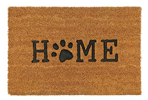 KADAX Fußmatte aus Kokosfaser und Gummi, 60 x 40 cm, Kokosmatte, Fußabtreter für Innen und Aussen, Schmutzfangmatte für Haustür, Hauseingang, Sauberlaufmatte, Türvorleger (Pfote)