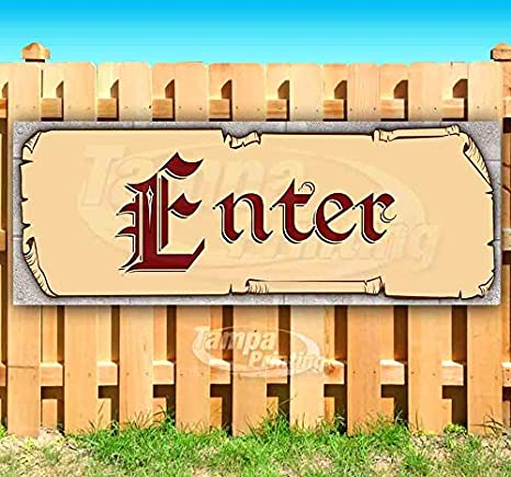 Enter 13 oz Banner Heavy-Duty Vinyl Single-Sided with Metal Grommets
