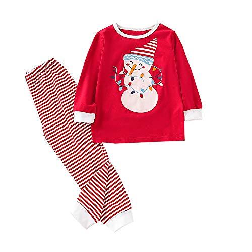 Ropa casera Infantil Disfraz Navidad Conjunto de Dibujos Animados para bebé niña Camiseta de Manga Larga + Pantalones a Rayas 2 Piezas 3-7 años