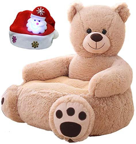 Kindersofa Stuhl Spielzeugsitz Baby Nest Schlafbett Kissen Gefüllte Teddy & Glowing Weihnachtsmütze Kinder Light Brown Bear