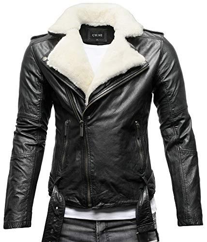 Crone Tjor Herren Shearling Lederjacke Biker Jacke mit Gürtel aus Rindsleder (S, Black/White Shearling (Rindsleder))