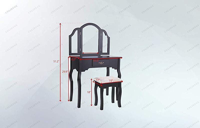 COLIBROX Black Vanity Makeup Table To Get Ready Before Going To Work Or Hanging Out With Your Friends Or Beloved One A Vanity Makeup Dressing Table Would Be Your Best Choice