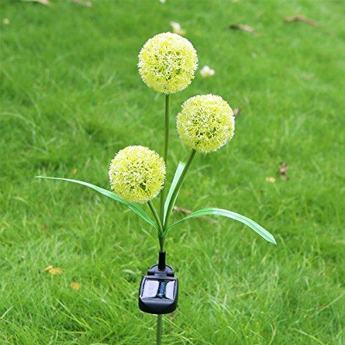 Solar Powered Dandelion Solar LED Lights Outdoor Waterproof LED Lamps for Garden Backyard Lawn Landscape Decoration Illumination (White)