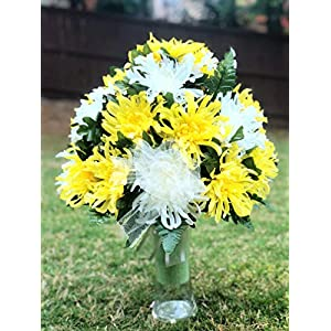 Cemetery Vase Arrangement ~ Beautiful Yellow and Ivory Mum Flowers Mixture Cemetery Flowers for a 3 Inch Vase
