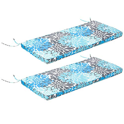 Outsunny Set di 2 Cuscini per Dondolo e Panchine in Poliestere per Arredamento da Esterno e Casa, 120x50x5cm Azzurro