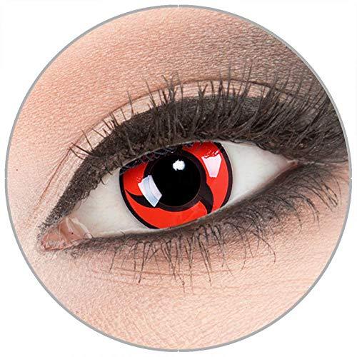 Farbige 'Itachi' Kontaktlinsen von 'Evil Lens' zu Fasching Karneval Halloween 1 Paar rote schwarze Crazy Fun Kontaktlinsen mit Behälter in Topqualität ohne Stärke