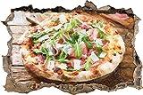 Pegatinas de pared Pizza de prosciutto con rúcula y parmesano sobre una mesa de madera rústica Efecto de pincel artístico Apertura de la pared en aspecto 3D Adhesivo de pared Decoración 62x42cm