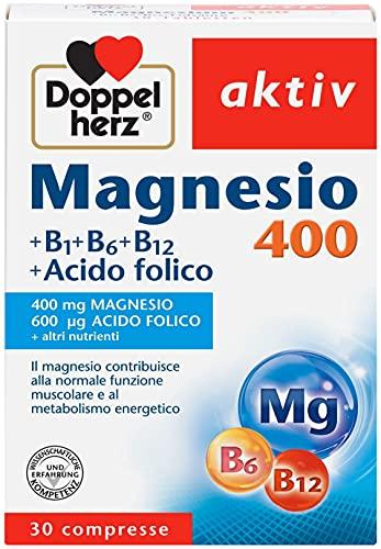 Magnesio 400 mg + acido folico + vitamina B1 + B6 + B12 - 30 compresse- Magnesio per i muscoli, il sistema nervoso e il metabolismo energetico