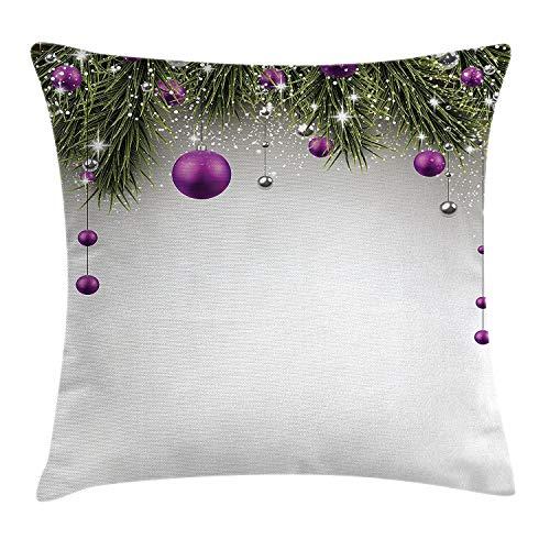 Funda de cojín de Navidad, árbol con espumillón y bola con cinta de regalo para celebración, decoración cuadrada, funda de almohada decorativa, color morado, gris, verde, tamaño: 55,5 x 55,8 cm