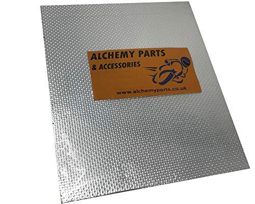 Alchemy Parts Autoadhesivo Escape Motor Protección Térmica Hoja 40 x 33cm Ideal para Moto, Coche - Aluminio & Reflectante