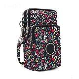 Mdsfe Moda Mini Mujeres Hangbag Canvas Messenger Bag Teléfono móvil Monedero Cartera Embrague Bolsillo de Viaje Feminina Bolsos Mujer-Flor Mar, 9x17x3cm