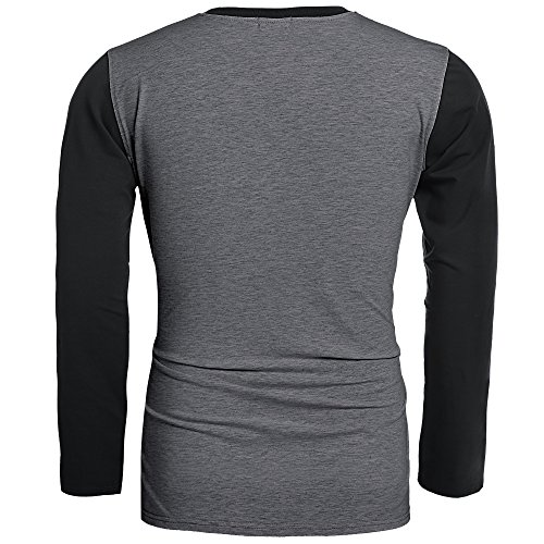 HOTOUCH Mens Casual Slim Fit Raglan Baseball Shirt Dark Gray Black M
