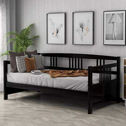 Merax Daybed Twin Bed Wooden Slats Support Modern Living Daybed with Rails, Twin Size, Dark Espresso