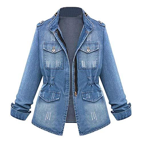 HX fashion Tallas Grandes Casual Oversize Damas Denim Mujeres Jeans Chaqueta Tamaños Cómodos De Cadena Chaqueta De Bolsillo Moda 2020 Ropa De Mujer