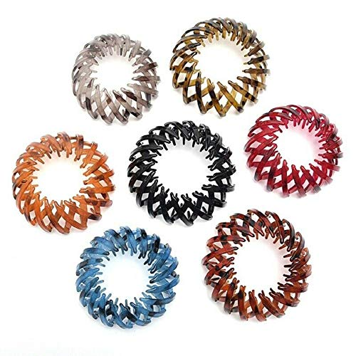 7pcs Ponytail Hairpin Curling Iron, 2021 Fashion Retro Leopard Print Hairstyle Headbands Bird Nest Shaped Hair Clips Hair Claw Clamps Bun Makers