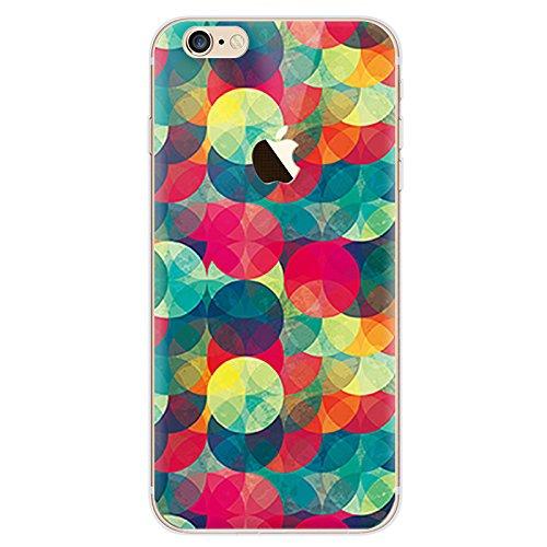 BubbleGum® beschermhoes voor iPhone Urban Pixels serie zacht TPU gel beschermhoes, telefoonhoes in artistieke stijl iPhone 7 PLUS 2: Green/Red Circles