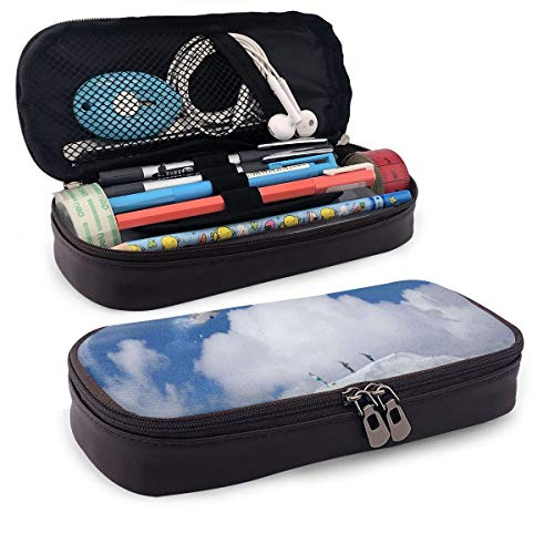 Pencil Case Big Capacity Storage Holder Desk Pen Pencil Marker Stationery Organizer Pencil Pouch with Zipper,Flying Snowboarder On The Mountaintop With Cloudy Sky Extreme Sports Theme Photo