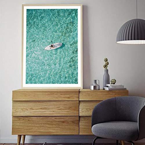 GUDOJK decoratief schilderij salon Boat Seascape poster en afdrukken canvas schilderij oceaan landschap wandschilderijen voor pop-art woonkamer 60x80cm(24x32inch)