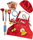 Riki's Kingdom kids Cooking Utensil Set-Safe Kitchen Tools, Rolling Pin/Spatula/Whisk/Ladle/Pastry Brush/Pizza Cutter/Veggie Peeler, Recipe Cards (Cooking set with Kid Apron&Chef Hat&Veggie Cutters)