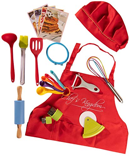 Riki's Kingdom kids Cooking & Baking Utensil Set, 21-Piece Safe Kitchen Tools,Pizza Cutter/Rolling Pin/Spatula/Whisk/Ladle/Pastry Brush/Veggie Peeler and Cutters/Apron/Hat/Recipe Cards