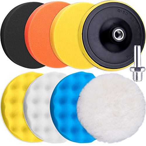 SIQUK 9 Pieces Polishing Pads Kit 180mm Buffing Pads Car Foam Polisher Attachment for Drill