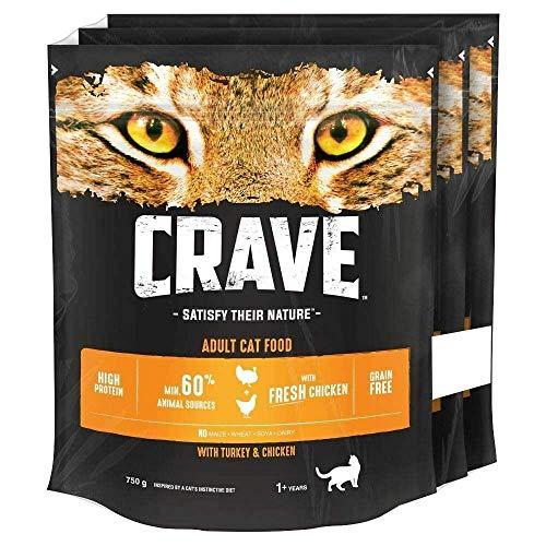 Crave Katzentrockenfutter mit Truthahn und Huhn, 3 x 750 g (2,25 kg)