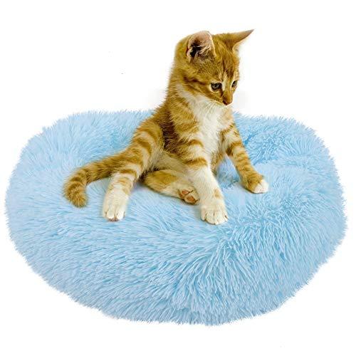 Cama De Peluche Suave Cama De Perro Forma Redonda Cama para Dormir Cat Puppy Pet Invierno Sofá Cálido Tumbador Diámetro 19.7 En