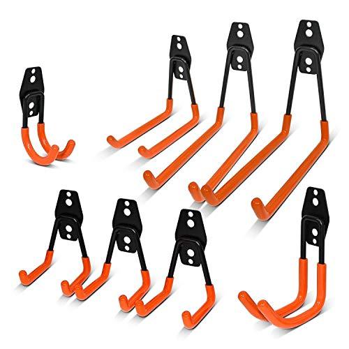 Vlio 8 Stück Gerätehaken Garage Storage Doppelhaken Wandhaken Multi Größe Heavy Duty Eisen Werkzeughalter Wandhalterung Universalhaken für Home Chair Ladder, Organisation von Power Tools