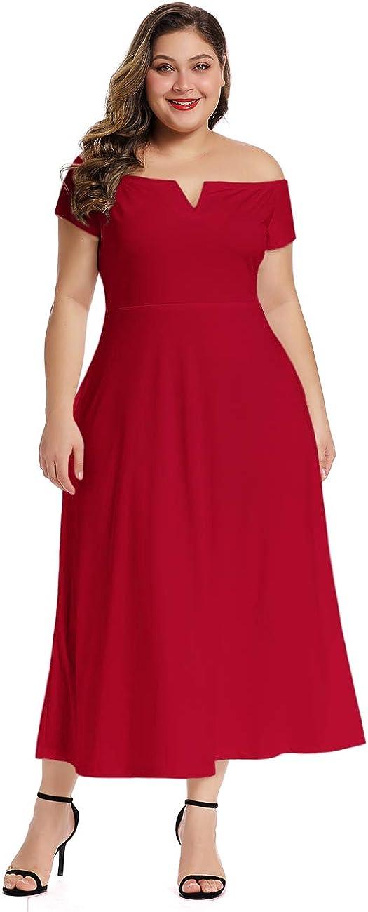 LALAGEN Women's Plus Size Off Portland Mall Shoulder Max 43% OFF E Long Dress Party Formal