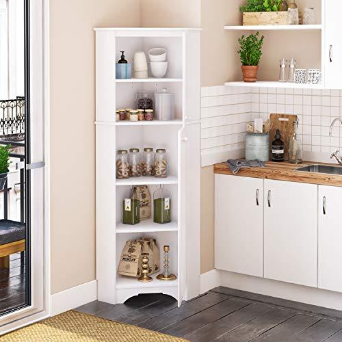 Prepac Elite Corner Storage Cabinet, Tall 2-Door, White