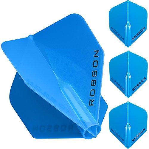 1Set–Robson Plus–Starke geformte Flights–Standard–Blau–mit Gratis Darts Ecke Checkout-Karte