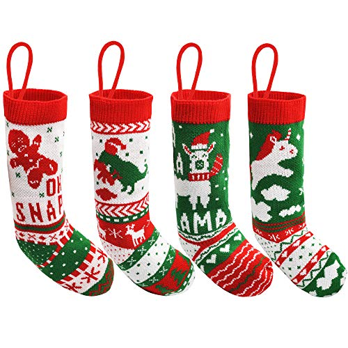 """JOYIN 18"""" Christmas Stockings 4 Packs, Large Size Rustic Cable Knit Xmas Stocking in Red & Green, for Family Holiday Season Decorations"""