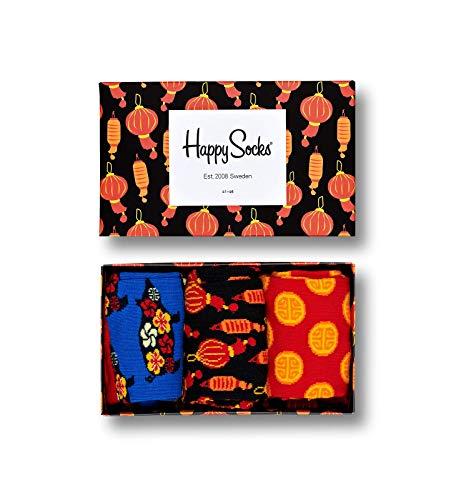 Happy Socks, bunt premium baumwolle Geschenkkarton 3 Paar Socken für Männer & Frauen, Chinese New Year Geschenkbox (41-46)