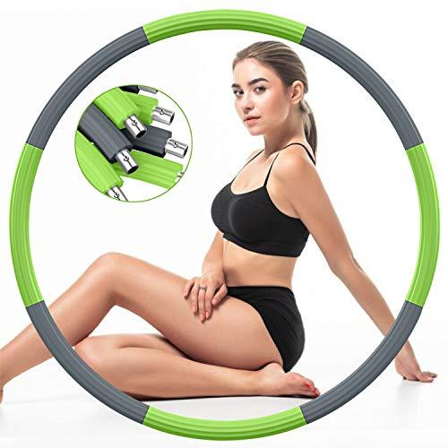 DUTISON Hula Reifen Hoop für Erwachsene, Fitness Reifen Gewichtet Rostfreier Stahl Hullahub Reifen zur Gewichtsabnahme mit Schaumstoff Gewichten Einstellbar von 1,2 bis 3,2 kg