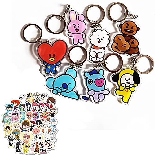 Kaimeilai BTS Schlüsselanhänger, 7 PCS Bangtan Boys Schlüsselanhänger Kpop Schlüsselanhänger, BTS Schlüsselanhänger Bangtan Boys Cartoon Schlüsselanhänger für Rucksack Tasche Zubehör (Mit Aufklebern)